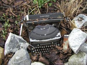 typewriter lawn ornament